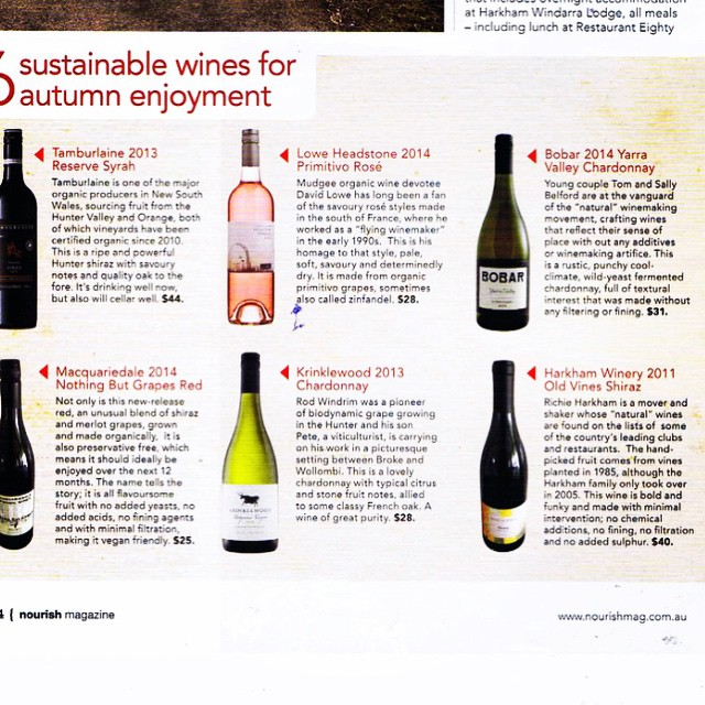 Our old vines Shiraz 2011 featured in nourish magazine